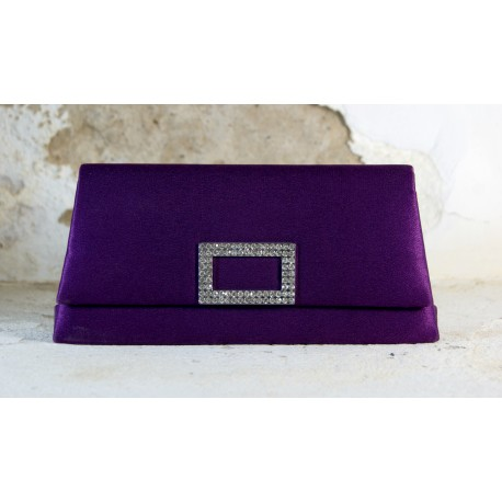 Violetinė delninukė dekoruota kristalų sagtimi