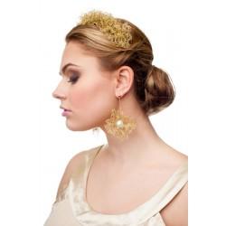 Nertas auksinės spalvos lankelis dekoruotas kristalais
